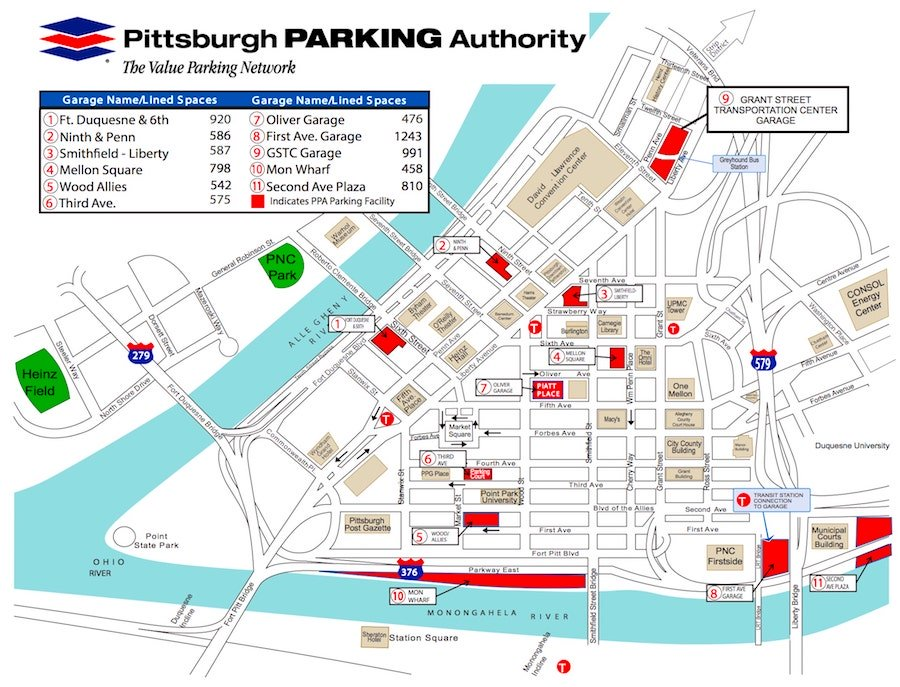 Downtown Pittsburgh Parking Garages